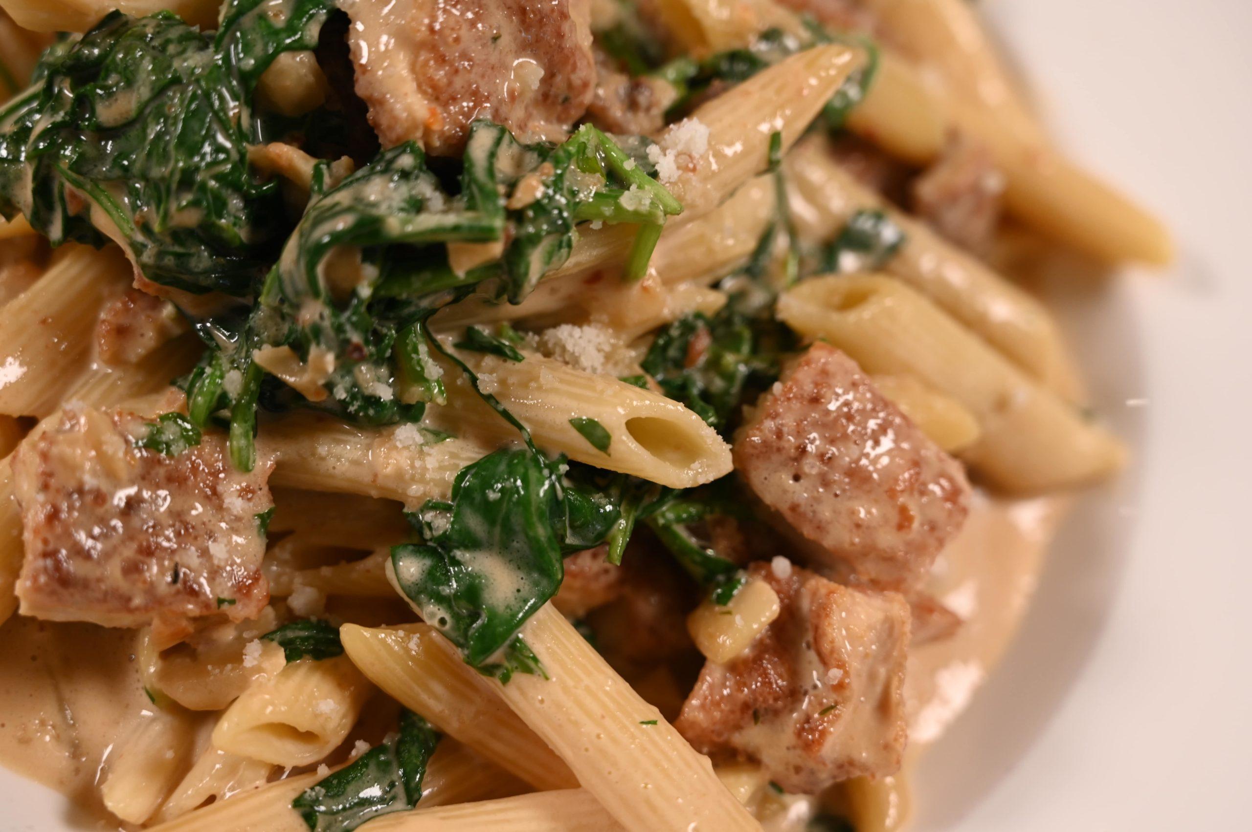 penne typical, grilled chicken, garlic, spinach, cream sauce