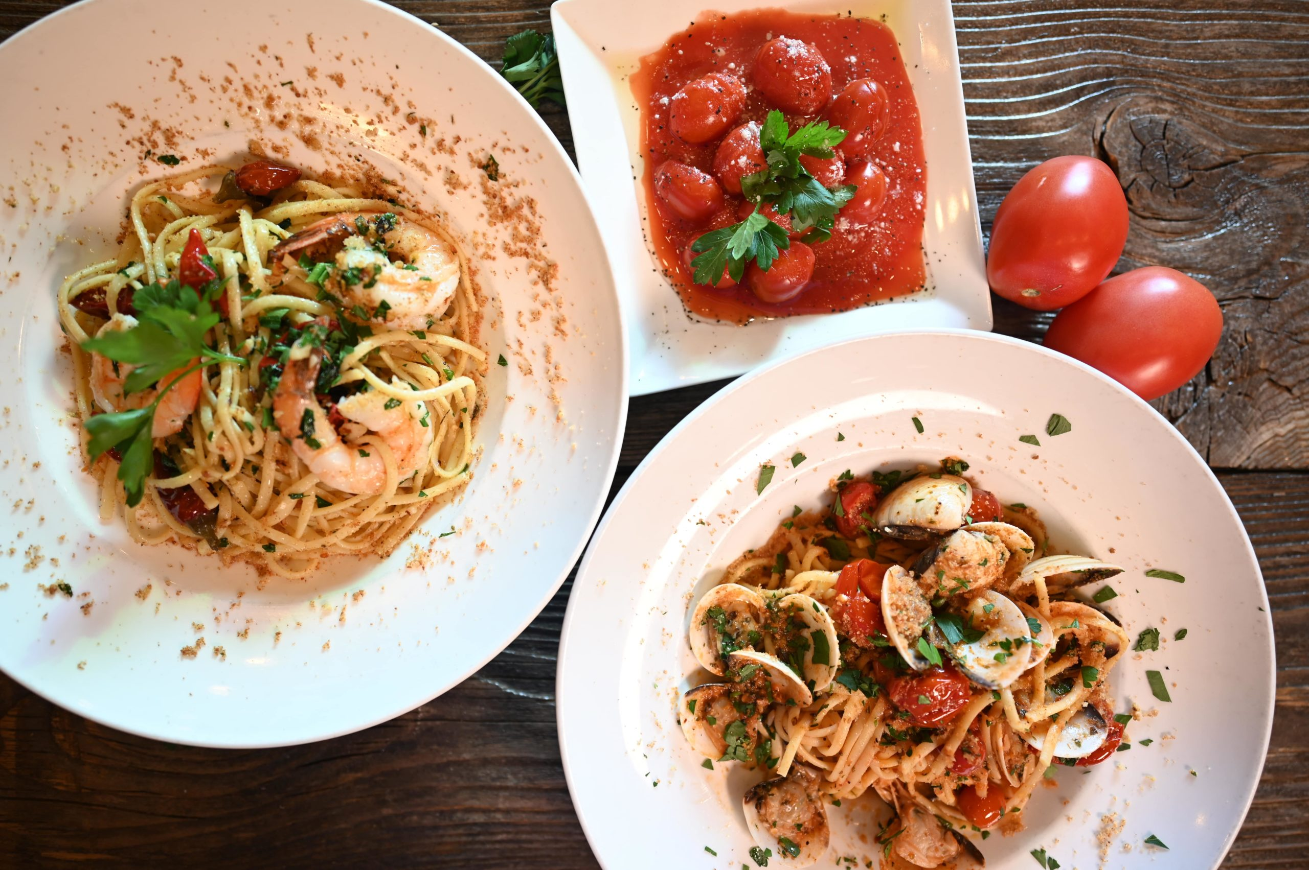 pasta with clams, pasta with shrimp, roasted cherry tomatoes
